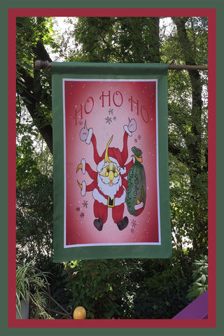 HO-HO-HO-28x40-House-Flag-Fly-Me-The-Sunny-Breezes-Decorative-Flags-Collection-Christmas-T-Cards-by-Bad-Ballerinas-Photo-Flagpole