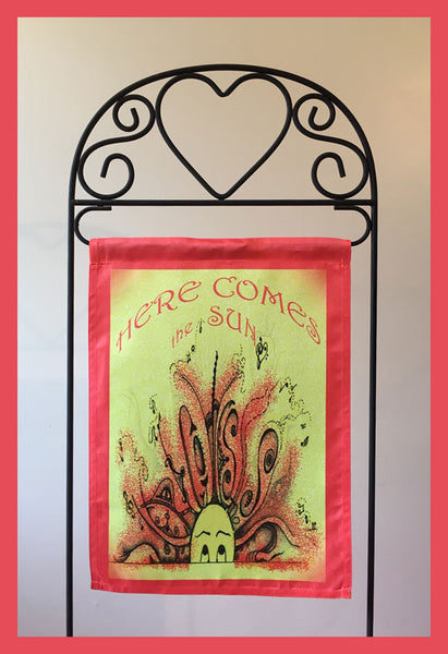 Here-Comes-the-Sun-The-Sunnies-Songs-&-Sayings-Fly-Me-The-Sunny-Breezes-Flag-Collection-designed-by-T-Cards-by-Bad-Ballerinas