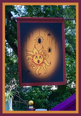 Little-Sun-Muffet-28x40-House-Flag-Fly-Me-The-Sunny-Breezes-Decorative-Flags-Collection-from-T-Cards-by-Bad-Ballerinas-Halloween-Photo-Borders