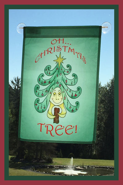 Oh-Christmas-Tree-12x18-Garden-Window-Flag-Fly-Me-The-Sunny-Breezes-Decorative-Flags-Collection-from-T-Cards-by-Bad-Ballerinas-Christmas-Photo-Borders
