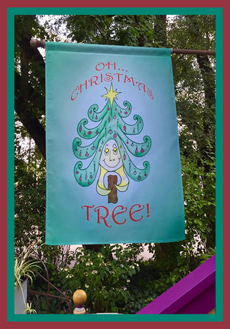 Oh-Christmas-Tree-28x40-House-Flag-Fly-Me-The-Sunny-Breezes-Decorative-Flags-Collection-from-T-Cards-by-Bad-Ballerinas-Christmas-Photo-Borders