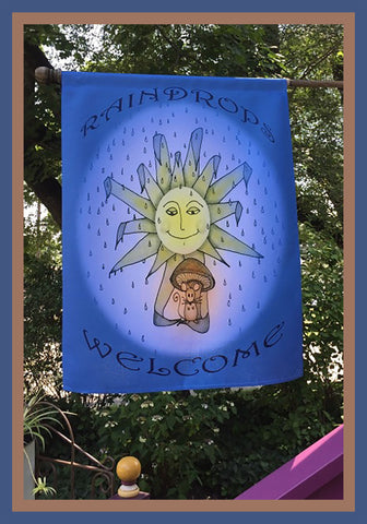Raindrops-Welcome-28x40-House-Flag-Fly-Me_-The-Sunny-Breezes-Decorative-Flags-Collection-designed-by-T-Cards-by-Bad-Ballerinas-Photo-Nature's-Gifts