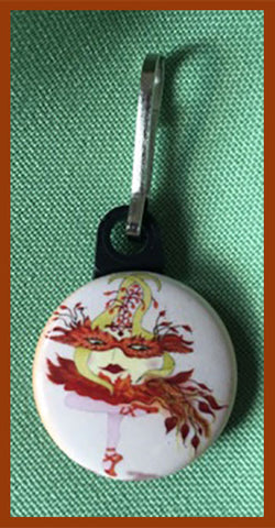 Sunbird-of-Fire-The-Sunerinas-Ups-and-Downs-Zipper-Pulls-Collection-designed-by-T-Cards-by-Bad-Ballerinas