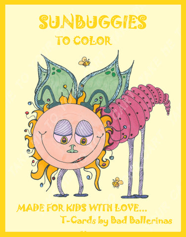 Sunbuggies I Love Colors Kids Coloring Book from T-Cards by Bad Ballerinas Artisan Cards and Gifts bugs insects border