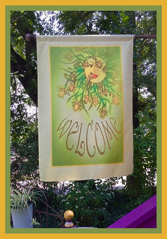 Welcome-28x40-House-Flag-Fly-Me-The-Sunny-Breezes-Decorative-Flags-Collection-designed-by-T-Cards-by-Bad-Ballerinas-Photo-Nature's-Gifts