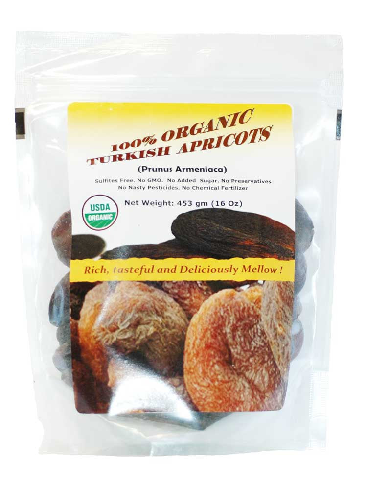 Indus Organic Turkish Jumbo Dried Apricots, 1 Lb (1x3 Pack), Sulfite Free, No Added Sugar, Premium Grade, Freshly Packed