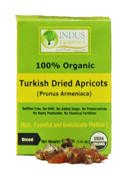 100% Organic Turkish Dried Diced Apricots, Retail Pack, Case