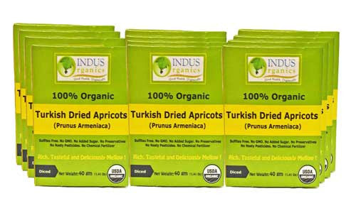 100% Organic Turkish Dried Diced Apricots (Pack of 12)
