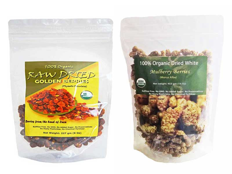Indus Organic Dried Mulberries & Golden Berries Combo Pack