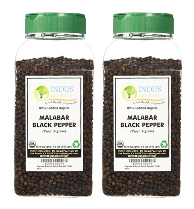 Indus Organic Malabar Black Peppercorns Spice 1 Lb Jar (X2), High Purity & Freshly Packed - Indus Organics