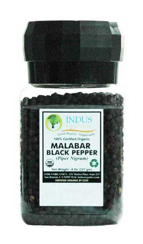 Indus Organic Malabar Black Peppercorns 8 Oz Spice Grinder (3 Pack), Premium Grade, High Purity, Freshly Packed - Indus Organics
