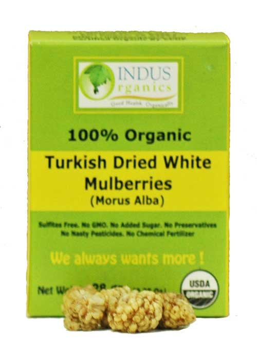 100% Organic Dried White Mulberries, Retail Pack, Case - Indus Organics