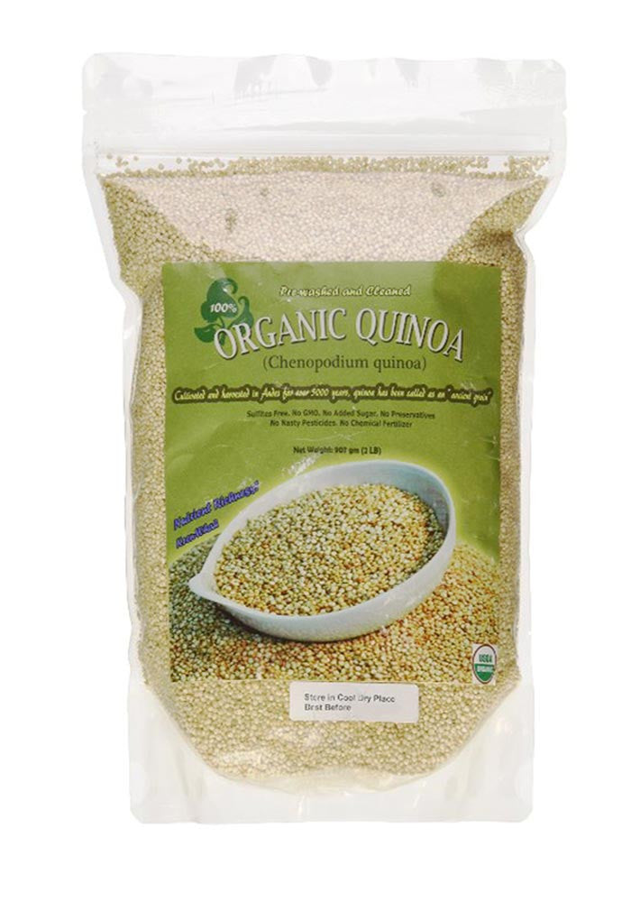 Indus Organic White Quinoa Seeds, 2 Lb Premium Quality, 99% Purity, Pre-Washed, Non-gmo, Freshly Packed - Indus Organics