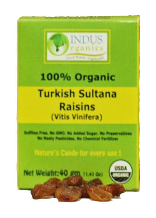 100% Organic Turkish Sultana Raisins, Retail Pack, Case