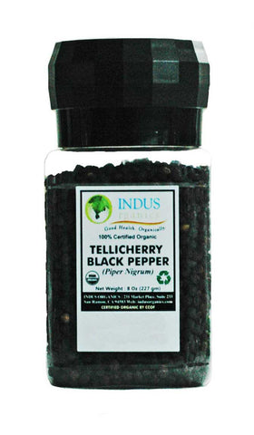 100% Organic Tellicherry Peppercorns (Grinder) - Indus Organics