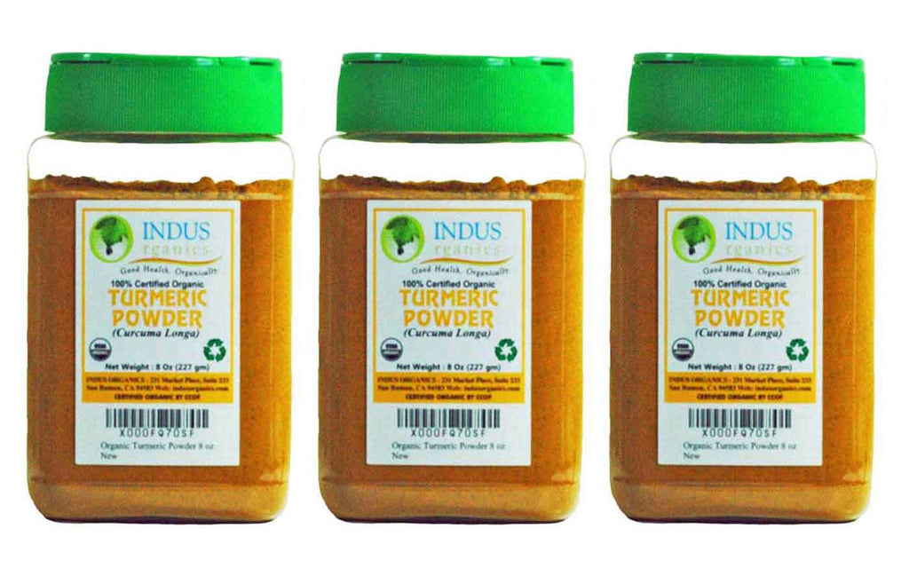 Indus Organic Turmeric (Curcumin) Powder Spice 8 Oz (X3 Jars), High Purity, Freshly Packed - Indus Organics