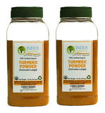 Indus Organic Turmeric (Curcumin) Powder Spice 1 Lb (X2 Jars), High Purity, Freshly Packed - Indus Organics