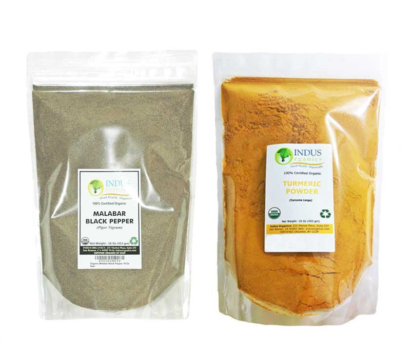 Indus Organic Turmeric (Curcumin) & Black Pepper Powder, Refill Combo Pack, High Purity, Freshly Packed