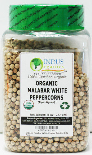 100% Organic White Peppercorns (Malabar)