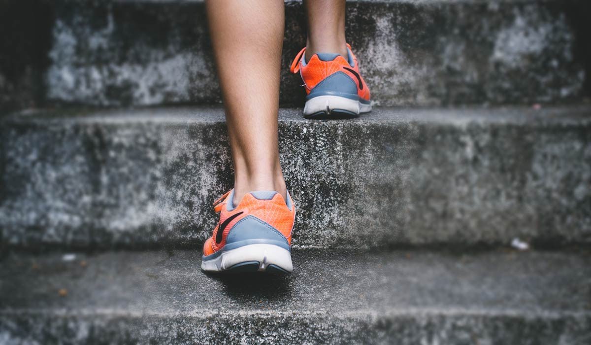 Running shoes doing stairs