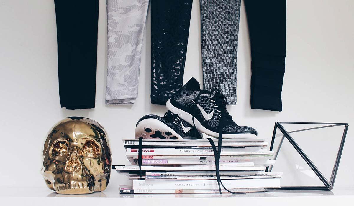 Flat Lay With Leggings And Running Shoes