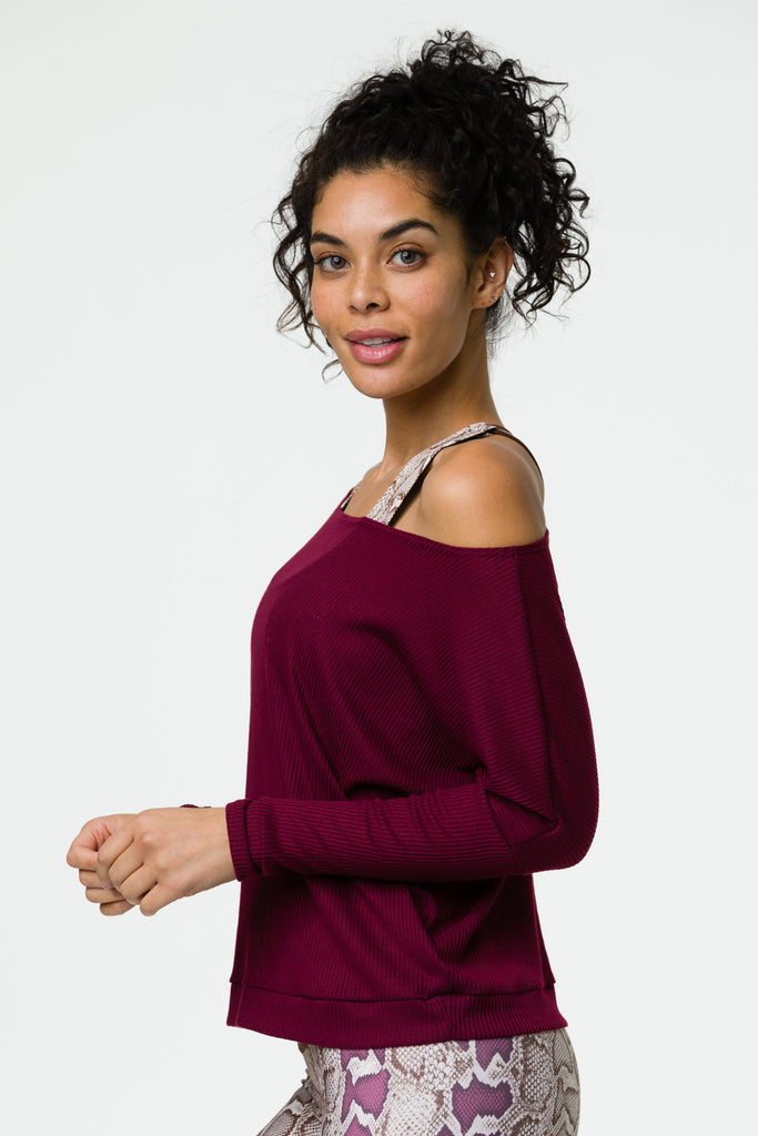 Off Shoulder Rib Top