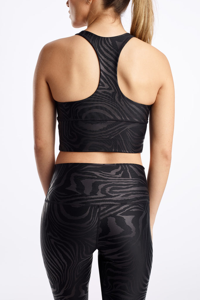 High Neck Elevate Racer Bra Matte Zebra Foil