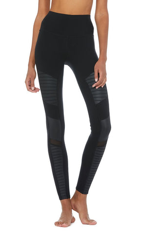 High-Waist Moto Legging Black Black Glossy