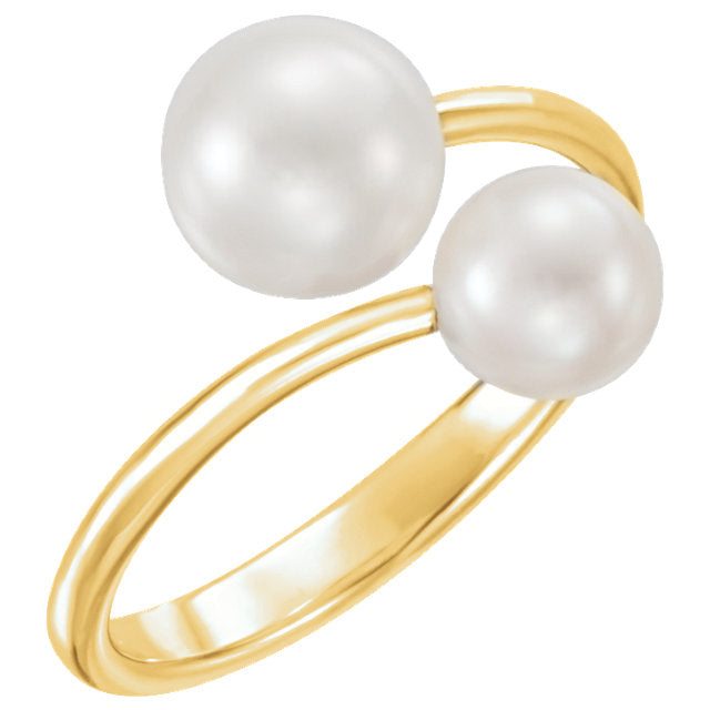 Pearl cross over ring