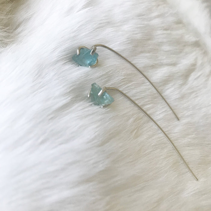 Raw Aquamarine long back Studs