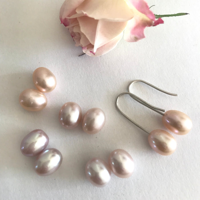 Sterling silver coloured pearl earrings