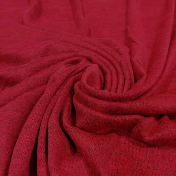 Bright Burgundy Brushed Heathered Hacci Sweater Knit Fabric, 1 Yard