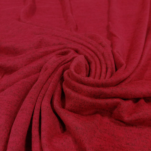 Bright Burgundy Brushed Heathered Hacci Sweater Knit Fabric, 1 Yard - Raspberry Creek Fabrics