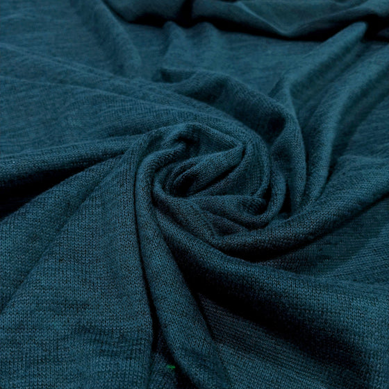 Teal Brushed Heathered Hacci Sweater Knit Fabric, 1 Yard