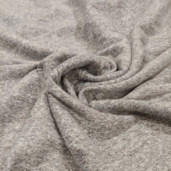 Light Grey and White Brushed Heathered Hacci Sweater Knit Fabric, 1 Yard - Raspberry Creek Fabrics