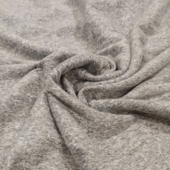Light Grey and White Brushed Heathered Hacci Sweater Knit Fabric, 1 Yard