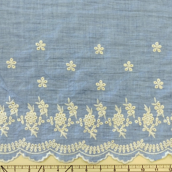 Medium Denim Blue Cream Embroidered Scallop Edge Lawn, 1 yard - Raspberry Creek Fabrics