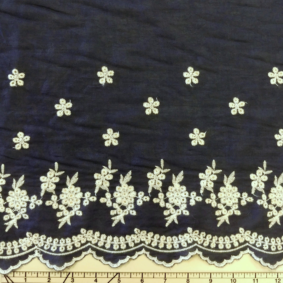 Navy Blue and Cream Embroidered Scallop Edge Lawn, 1 yard
