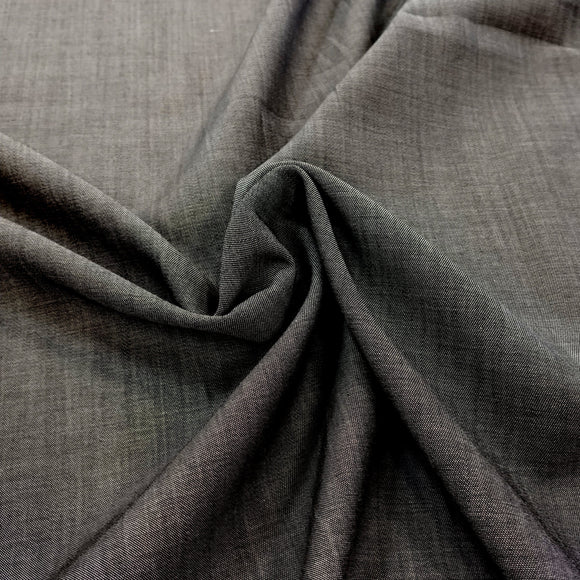 Light Black Light to Medium Weight Tencel Chambray, 1 Yard