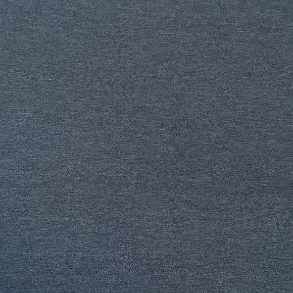 Heathered Dark Denim 4 Way Stretch 10 oz Cotton Lycra Jersey Knit Fabric, 1 Yard
