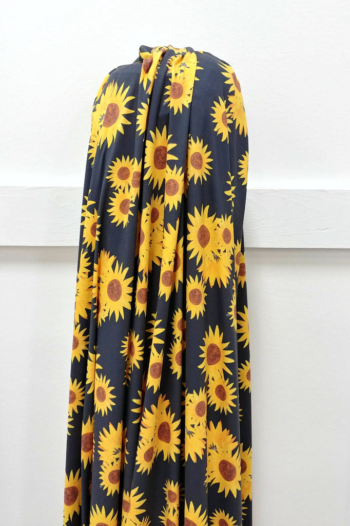 Black and Yellow Sunflowers 4 Way Stretch Double Brushed Poly, By McKenzie Powell for CLUB Fabrics - Raspberry Creek Fabrics
