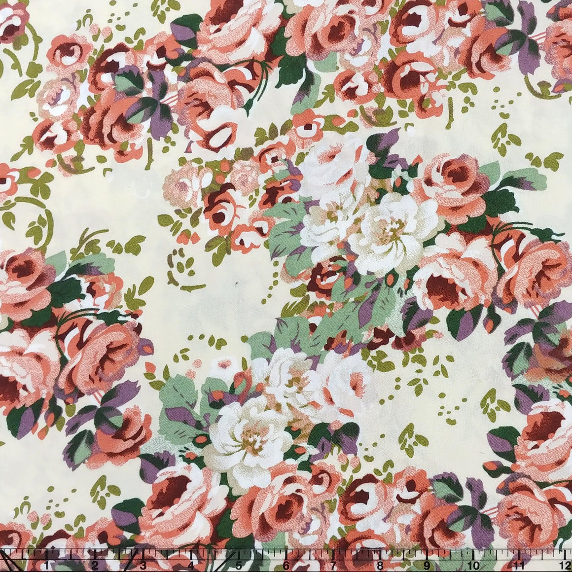Off White Sage Coral and Purple Floral Rayon Challis, 1 yard - Raspberry Creek Fabrics