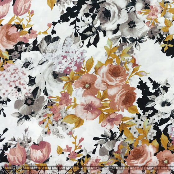 Black White Mustard and Mauve Floral Rayon Challis, 1 yard - Raspberry Creek Fabrics