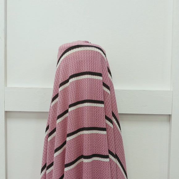 Blush Cream and Black Stripe Waffle Knit Fabric, 1 Yard - Raspberry Creek Fabrics