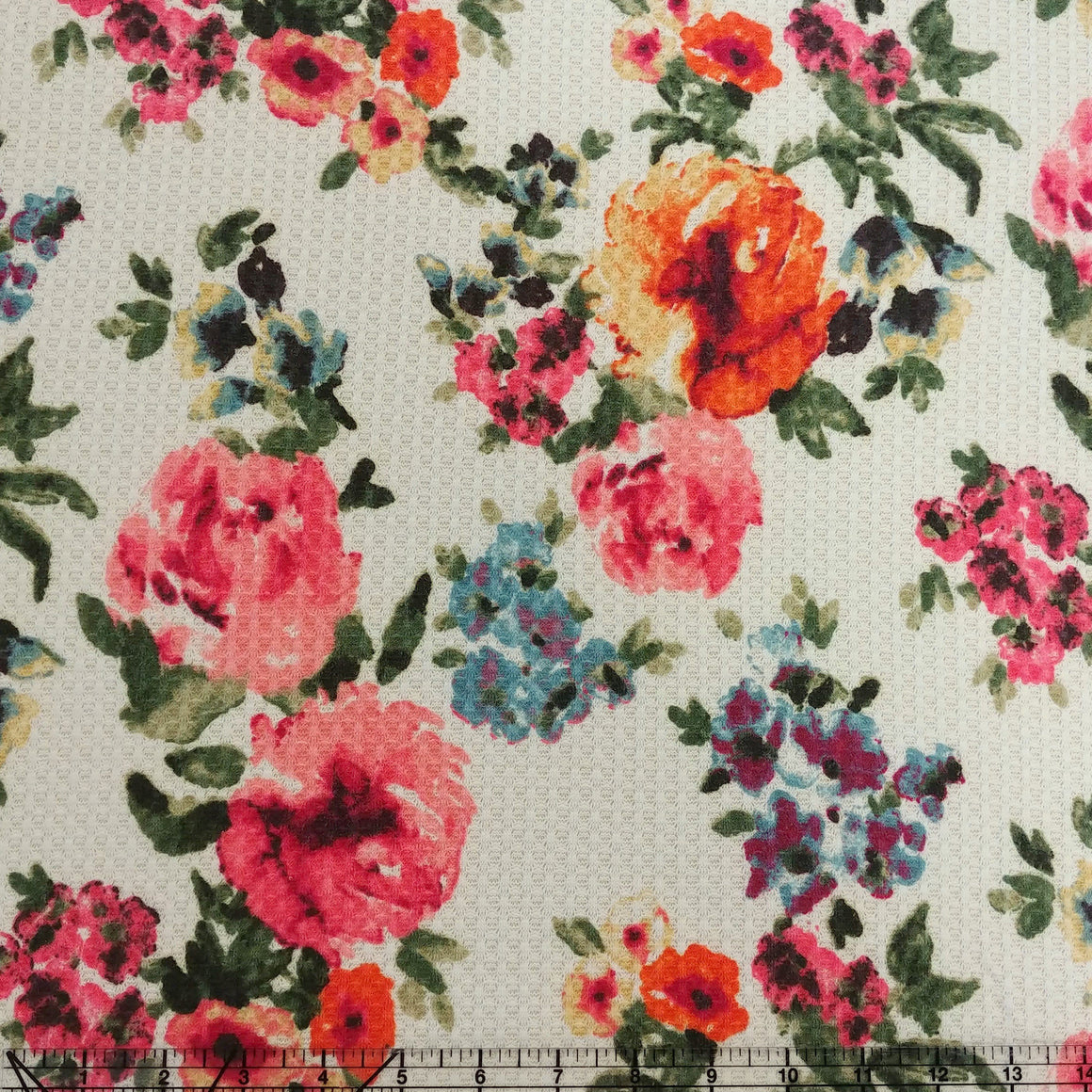 Off White Salmon Olive Orange Mustard and Blue Floral Waffle Knit Fabric - Raspberry Creek Fabrics