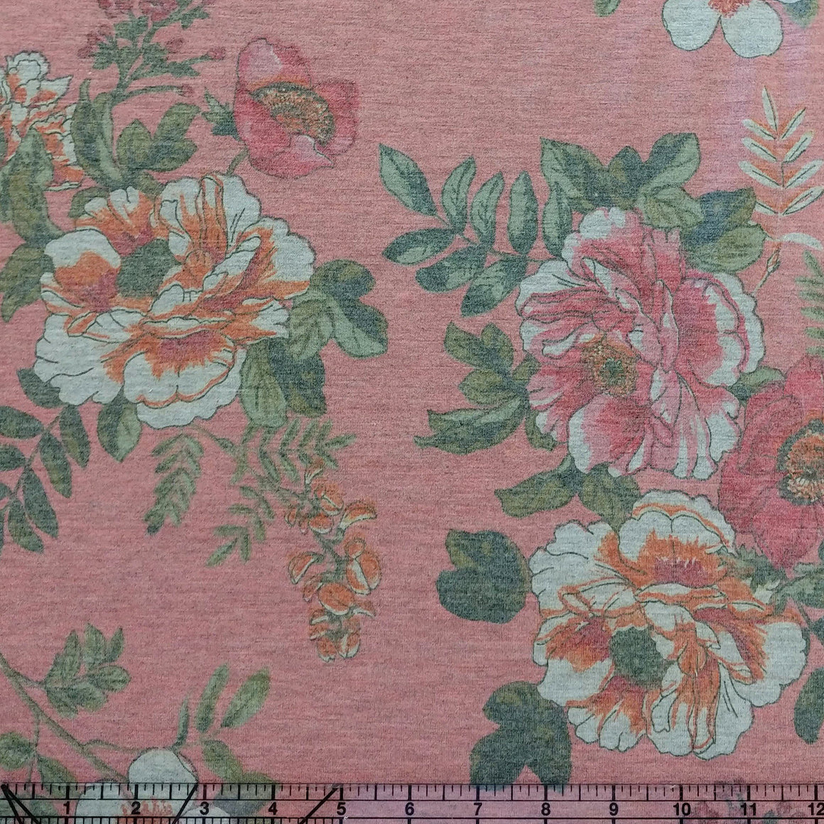 Salmon Orange Mustard and Olive Floral French Terry Knit Fabric, 1 Yard - Raspberry Creek Fabrics