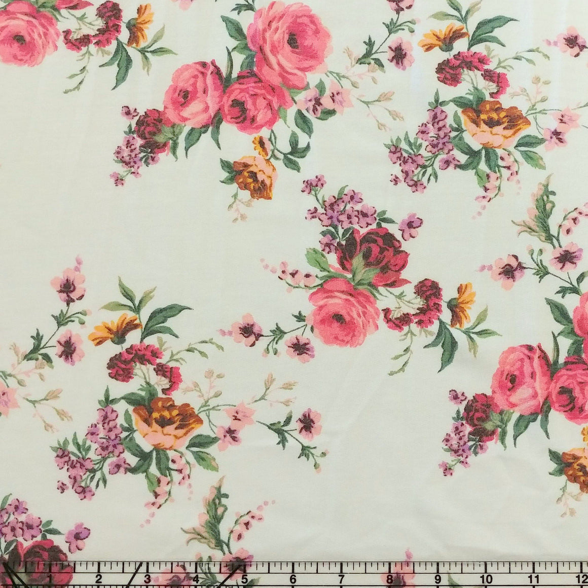 Cream Blush Mustard Peach and Green Floral French Terry Knit Fabric, 1 Yard - Raspberry Creek Fabrics