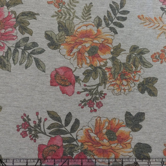 Grey Salmon Orange Mustard and Olive Floral French Terry Knit Fabric, 1 Yard - Raspberry Creek Fabrics
