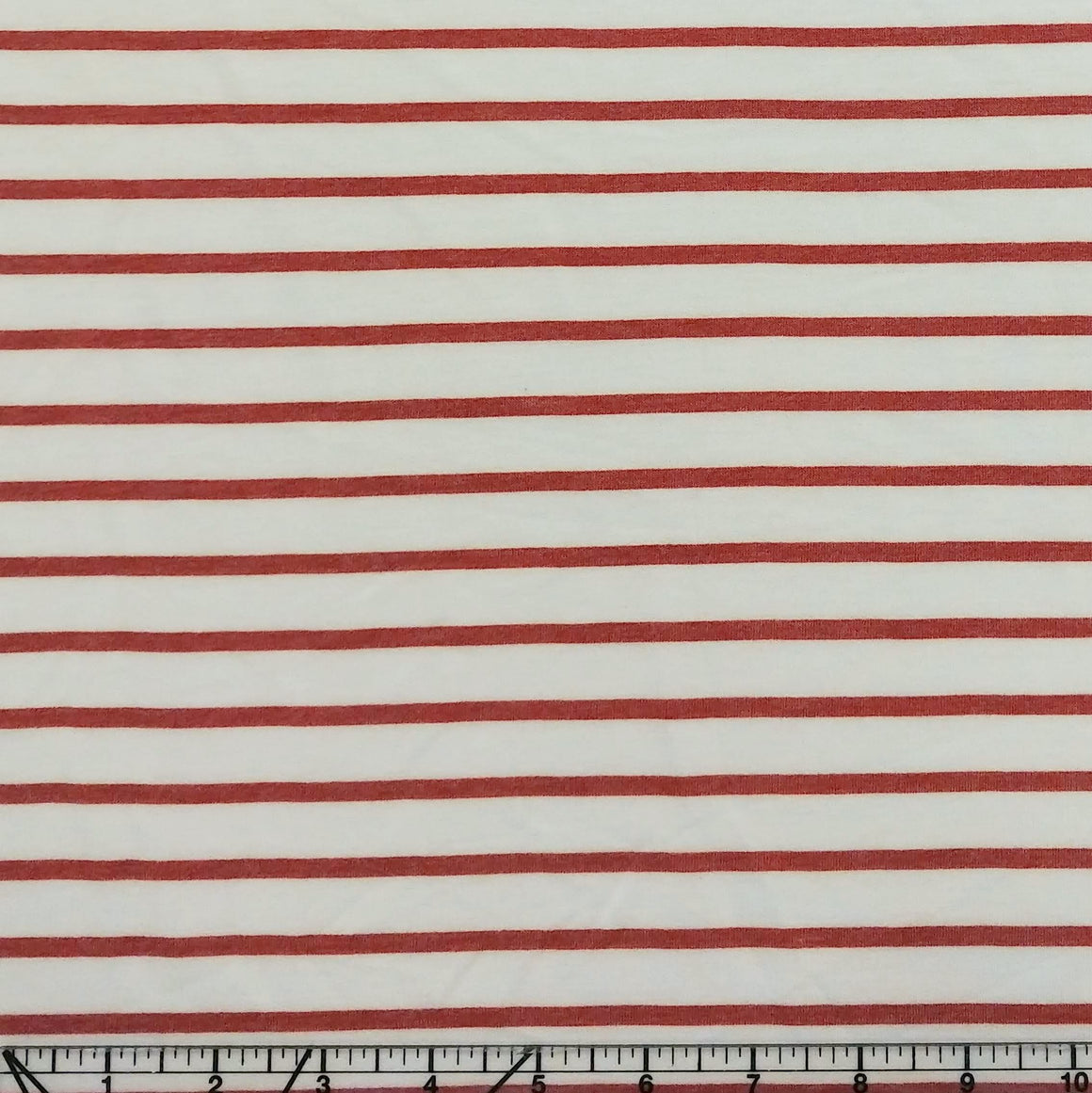 Off White and Rust Red Stripe French Terry Knit Fabric, 1 Yard - Raspberry Creek Fabrics