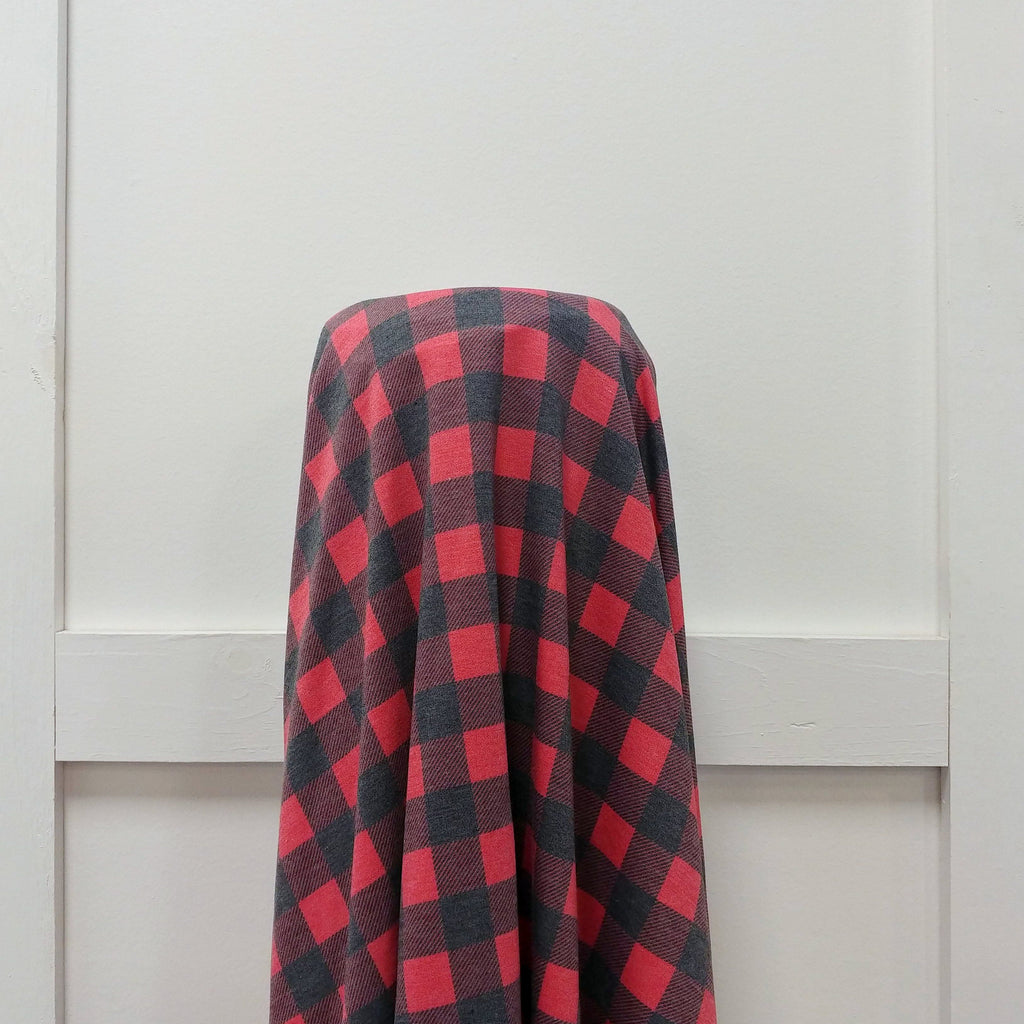 Charcoal and Red Buffalo Plaid French Terry Fleece Sweatshirt Knit Fabric, CLUB Fabrics - Raspberry Creek Fabrics